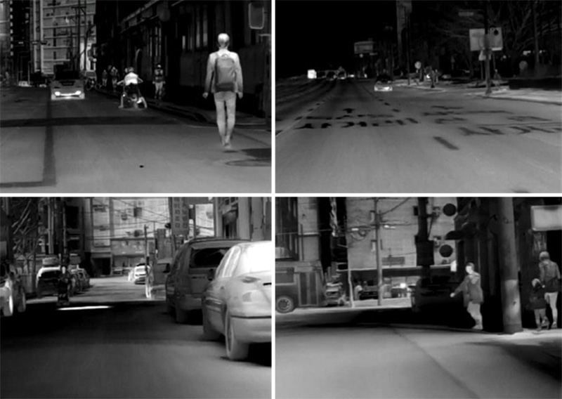 4 rectangular images taken on road by night vision vehicle camera